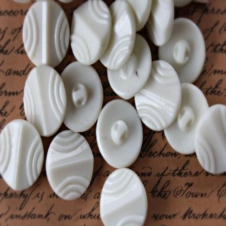 3 Vintage White Glass Buttons